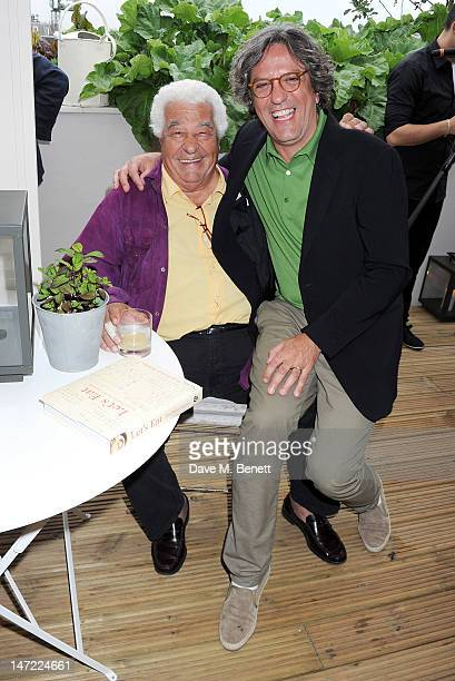 Antonio Carluccio and Giorgio Locatelli attend as Tom Parker Bowles launches his new cookbook 'Let's Eat Recipes From My Kitchen Notebook' at the...