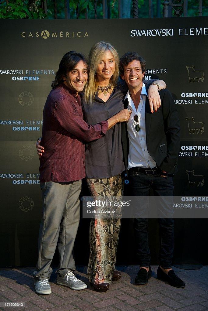 Antonio Carmona, Mariola Orellana and Willie Marquez attend Swarovski-Osborne Bull illumination at the Casa America on June 25, 2013 in Madrid, Spain.