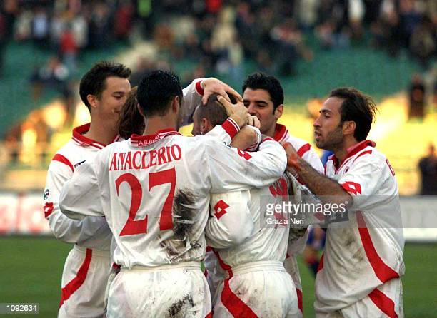 Antonio Cassano and his Bari teammates of celebrate the goal during a SERIE A 10th Round League match between Bari and Bologna played at the San...