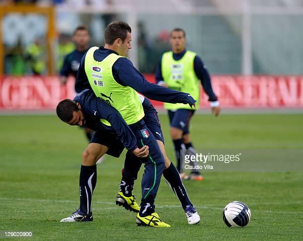Antonio Cassano and Leonardo Bonucci of Italy during a training session ahead of the UEFA EURO 2012 qualifier against Northern Ireland at Adriatico...