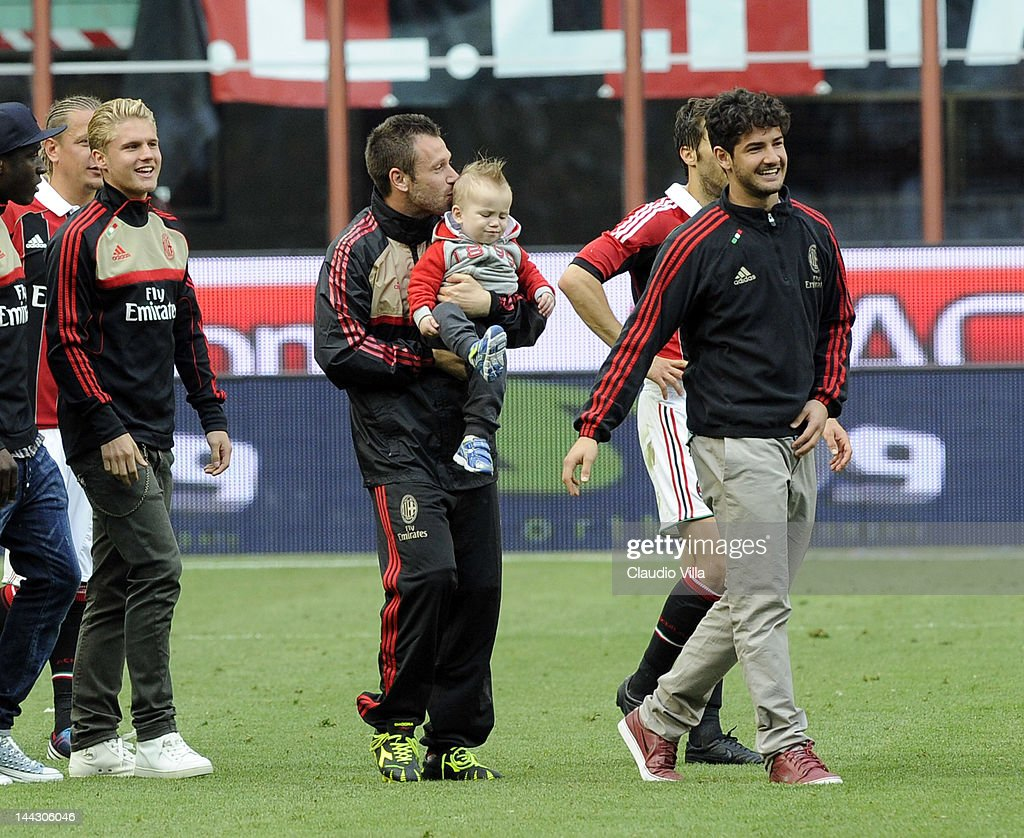 Antonio Cassano, Christopher Cassano and Pato after the Serie A match between AC Milan and Novara Calcio at Stadio Giuseppe Meazza on May 13, 2012 in Milan, Italy.