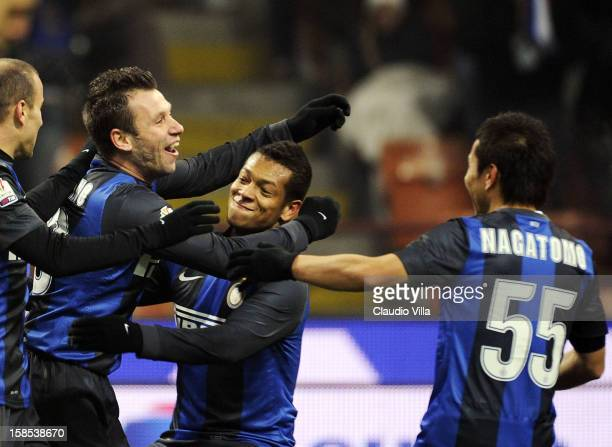 Antonio Cassano of FC Inter celebrates scoring the first goal during the TIM Cup match between FC Internazionale Milano and Hellas Verona at San Siro...