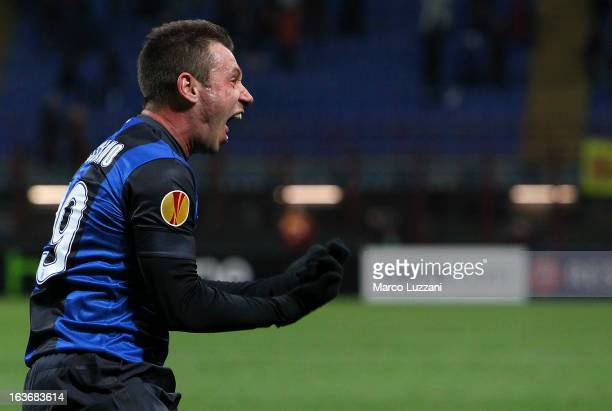 Antonio Cassano of FC Internazionale celebrates the second goal during the UEFA Europa League Round of 16 Second Leg match between FC Internazionale...