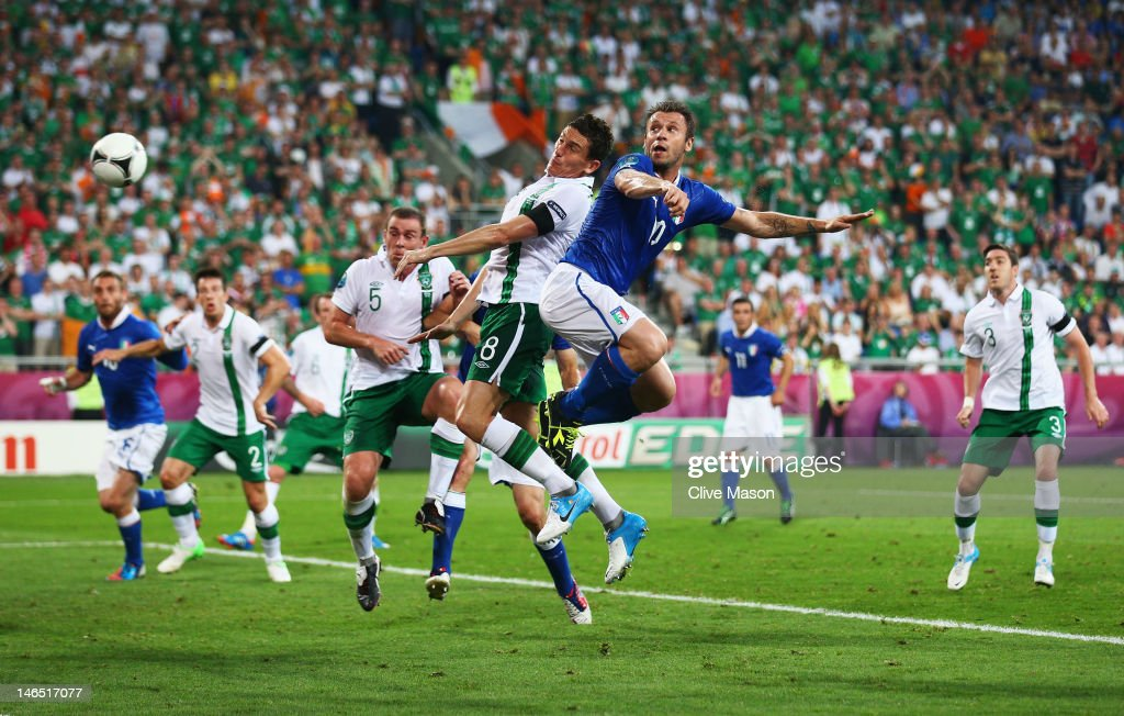 Antonio Cassano of Italy heads in the opening goal during the UEFA EURO 2012 group C match between Italy and Ireland at The Municipal Stadium on June 18, 2012 in Poznan, Poland.