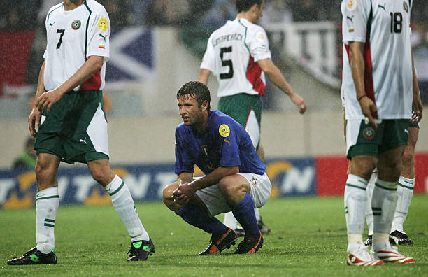 Antonio Cassano of Italy looks dejected during the UEFA Euro 2004 Group C match between Italy and Bulgaria at the Estadio D. Afonso Henriques on June...