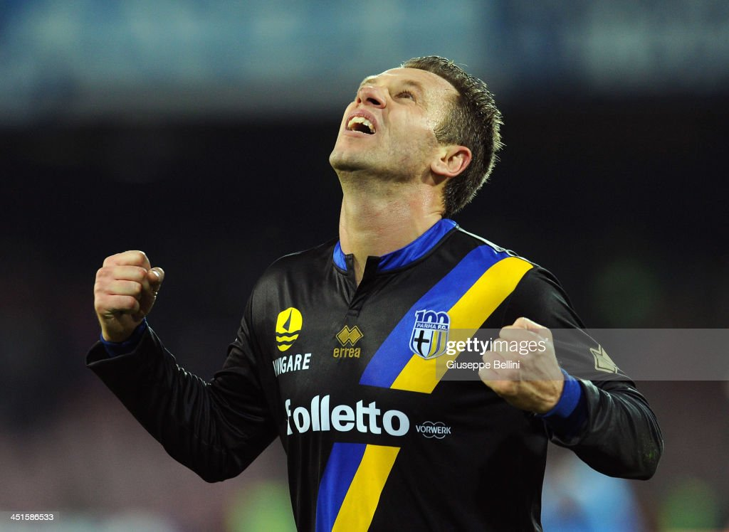 Antonio Cassano of Parma celebrates afer scoring the opening goal during the Serie A match between SSC Napoli and Parma FC at Stadio San Paolo on November 23, 2013 in Naples, Italy.