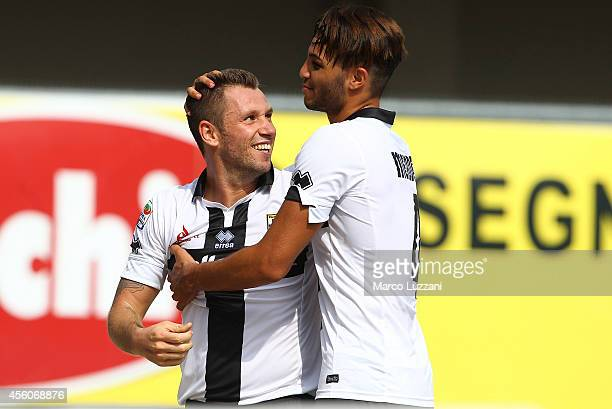 Antonio Cassano of Parma FC celebrates his second goal with his teammate Pedro Mendes during the Serie A match between AC Chievo Verona and Parma FC...