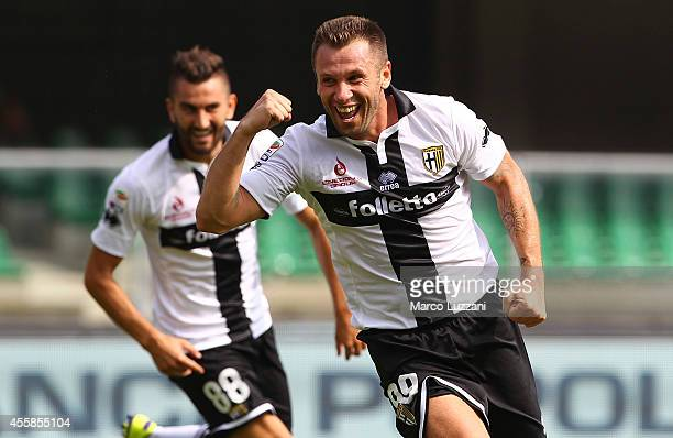 Antonio Cassano of Parma FC celebrates his seond goal during the Serie A match between AC Chievo Verona and Parma FC at Stadio Marc'Antonio Bentegodi...