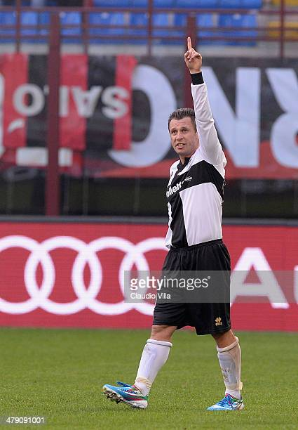 Antonio Cassano of Parma FC celebrates scoring the second goal during the Serie A match between AC Milan and Parma FC at San Siro Stadium on March 16...