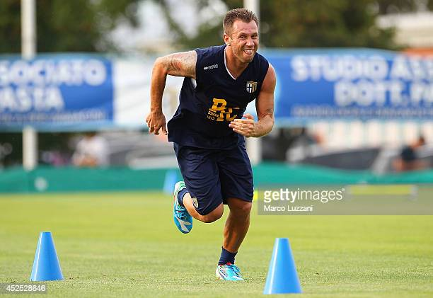 Antonio Cassano of Parma FC runs during FC Parma Training Session at the club's training ground on July 22 2014 in Collecchio Italy