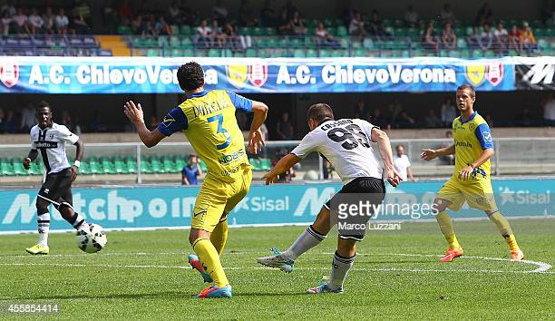 Antonio Cassano of Parma FC scores his goal during the Serie A match between AC Chievo Verona and Parma FC at Stadio Marc'Antonio Bentegodi on...