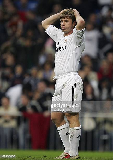 Antonio Cassano of Real Madrid reacts during a Primera Liga match between Real Madrid and Real Betis at the Santiago Bernabeu stadium on March 19...