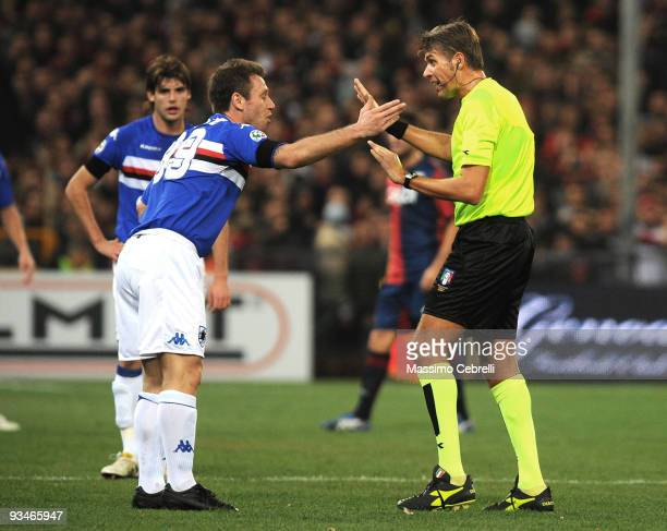 Antonio Cassano of Sampdoria has words with referee Roberto Rosetti during the Serie A match between Genoa CFC and UC Sampdoria at Stadio Luigi...