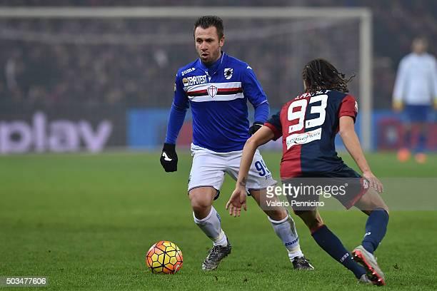 Antonio Cassano of UC Sampdoria in action against Diego Suarez of Genoa CFC during the Serie A match between Genoa CFC and UC Sampdoria at Stadio...