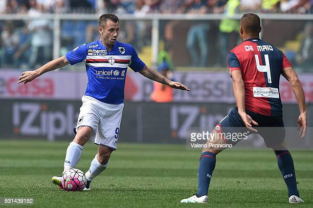 Antonio Cassano of UC Sampdoria in action against Sebastien De Maio of Genoa CFC during the Serie A match between UC Sampdoria and Genoa CFC at...