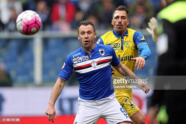 Antonio Cassano of UC Sampdoria in action during the Serie A match between UC Sampdoria and AC Chievo Verona at Stadio Luigi Ferraris on March 20...