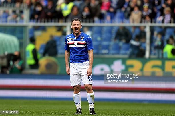 Antonio Cassano of UC Sampdoria reacts during the Serie A match between UC Sampdoria and AC Chievo Verona at Stadio Luigi Ferraris on March 20 2016...