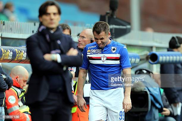 Antonio Cassano of UC Sampdoria shows his dejection during the Serie A match between UC Sampdoria and AC Chievo Verona at Stadio Luigi Ferraris on...