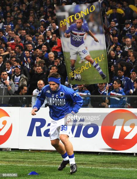 Antonio Cassano of UC Sampdoria warms up beforeThe Serie A match between Genoa CFC and UC Sampdoria at Stadio Luigi Ferraris on November 28 2009 in...