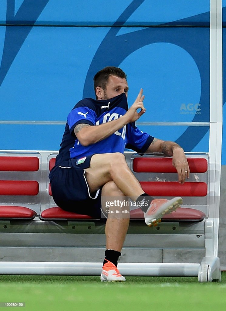 Antonio Cassano signals the peace sign during an Italy training session at the Arena Amazonia on June 13, 2014 in Manaus, Brazil. Italy will play England in their opening group D match on June 14, 2014 in Manaus, Brazil.