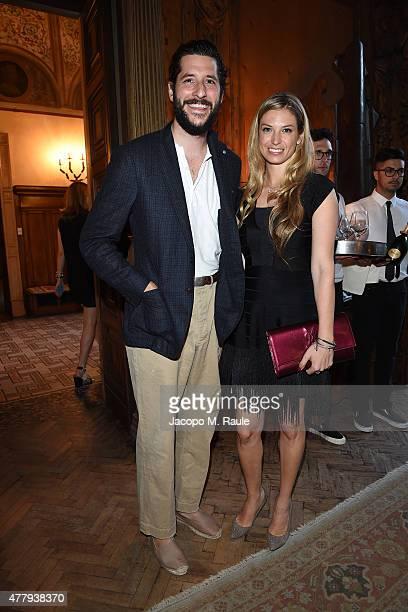 Antonio Ciongoli and Sarrah Candee attend GQ Party for Jim Moore during Milan Menswear Fashion Week Spring/Summer 2016 at Casa Degli Atellani on June...