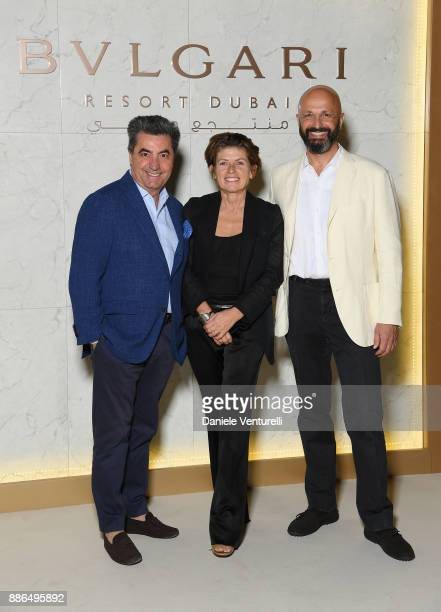 Antonio Citterio Patricia Viel and Silvio Ursini attend the Grand Opening Bulgari Dubai Resort on December 5 2017 in Dubai United Arab Emirates