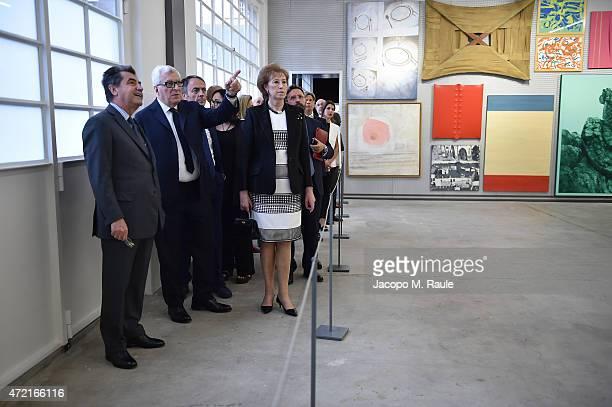 Antonio Citterio, Patrizio Bertelli, Letizia Moratti and guests attend the Fondazione Prada Opening on May 4, 2015 in Milan, Italy.