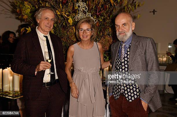 Antonio Colombo Inga Griese and Barnaba Fornasetti attend the ICON 10 anniversary cocktail canapes party at Palazzo Cagnola on November 9 2016 in...