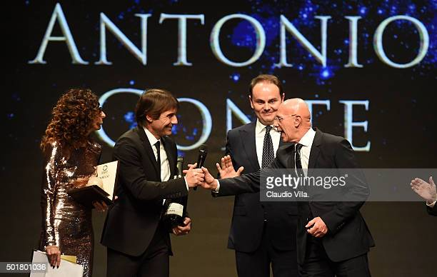 Antonio Conte and Arrigo Sacchi attend La Gazzetta dello Sport Gala' Event at the Metropol on December 17 2015 in Milan Italy