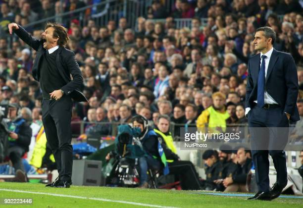 Antonio Conte and Ernesto Valverde during the match between FC Barcelona and Chelsea FC for the secong leg of the 1/8 final of the UEFa Champions...