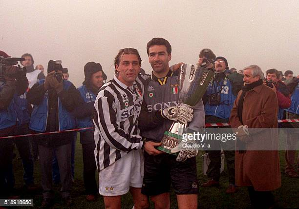 Antonio Conte and Michelangelo Rampulla of FC Juventus celebrate at the end of Italian Supercup match between Juventus and Parma at Stadio Delle Alpi...