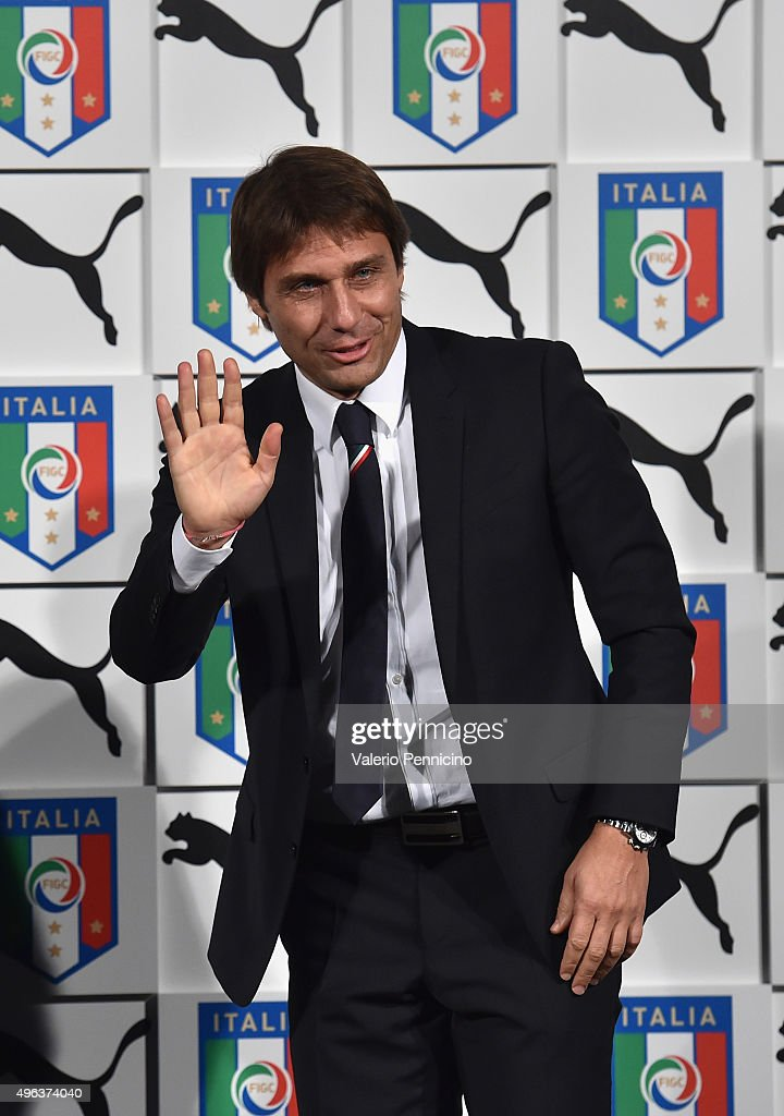 Antonio Conte attends on stage during the launch of new Puma home kit at Palazzo Vecchio on November 9, 2015 in Florence, Italy.