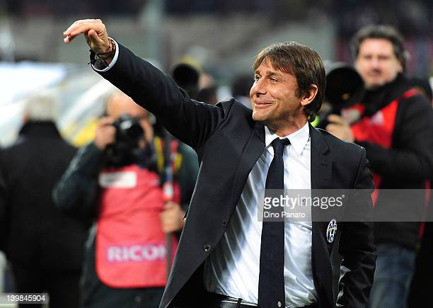 Antonio Conte caoch of Juventus smiles during the Serie A match between AC Milan and Juventus FC at Stadio Giuseppe Meazza on February 25 2012 in...