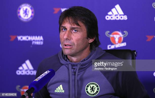 Antonio Conte Chelsea mananger is pictured during a press conference at Chelsea Training Ground on October 21 2016 in Cobham England