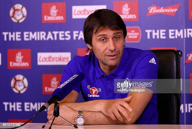 Antonio Conte Chelsea mananger is pictured during a press conference at Chelsea Training Ground on January 6 2017 in Cobham England