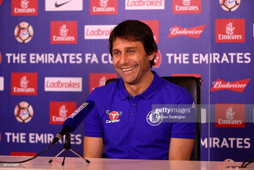 Antonio Conte, Chelsea mananger, is pictured during a press conference at Chelsea Training Ground on January 6, 2017 in Cobham, England.