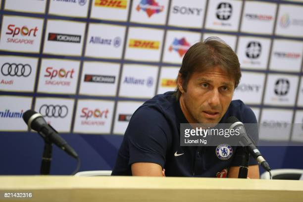 Antonio Conte coach of Chelsea FC speaks to the media during a Chelsea FC International Champions Cup press conference at National Stadium on July 24...