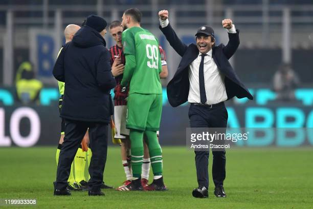 Antonio Conte coach of FC Internazionale celebrates at the end of the football match between FC Internazionale and AC Milan. Internazionale won over...