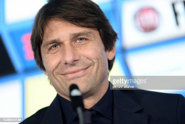 Antonio Conte coach of the Italian national soccer team at a press conference in the Allianz Arena in Munich Germany 28 March 2016 Italy meets...