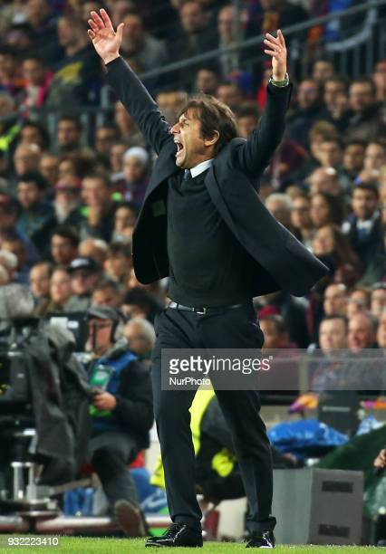 Antonio Conte during the match between FC Barcelona and Chelsea FC for the secong leg of the 1/8 final of the UEFa Champions League played at the...