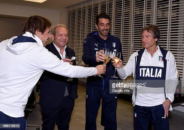 Antonio Conte Ermanno Scervino Gianluigi Buffon and Gabriele Oriali visit Ermanno Scervino Atelier on November 9 2015 in Florence Italy