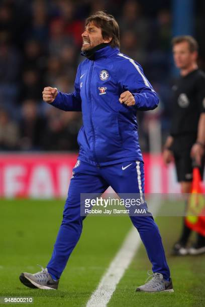 Antonio Conte head coach / manager of Chelsea celebrates after Victor Moses of Chelsea scores a goal to make it 12 during the Premier League match...