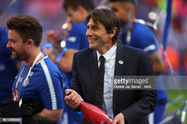 Antonio Conte head coach / manager of Chelsea celebrates at full time during The Emirates FA Cup Final between Chelsea and Manchester United at...
