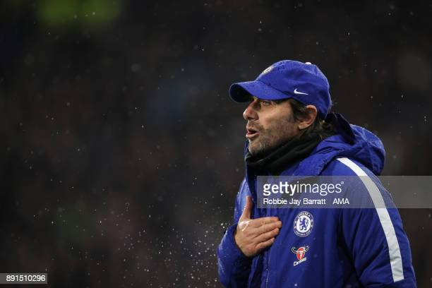 Antonio Conte head coach / manager of Chelsea during the Premier League match between Huddersfield Town and Chelsea at John Smith's Stadium on...