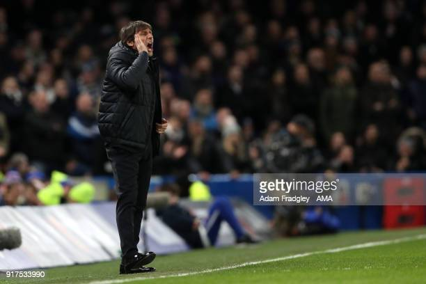 Antonio Conte head coach / manager of Chelsea during the Premier League match between Chelsea and West Bromwich Albion at Stamford Bridge on February...