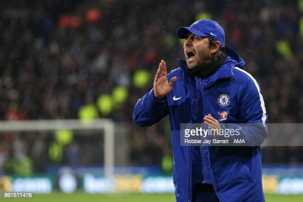 Antonio Conte head coach / manager of Chelsea gestures during the Premier League match between Huddersfield Town and Chelsea at John Smith's Stadium...