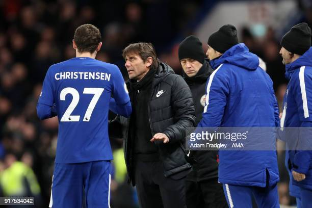Antonio Conte head coach / manager of Chelsea speaks to Andreas Christensen of Chelsea during a break in play during the Premier League match between...