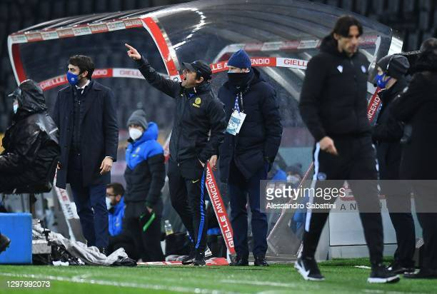 Antonio Conte head coach of FC Internaziona in action reacts after red card during the Serie A match between Udinese Calcio and FC Internazionale at...