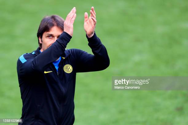 Antonio Conte, head coach of Fc Internazionale, celebrates at the end of the Serie A match between Fc Internazionale and Udinese Calcio. Fc...