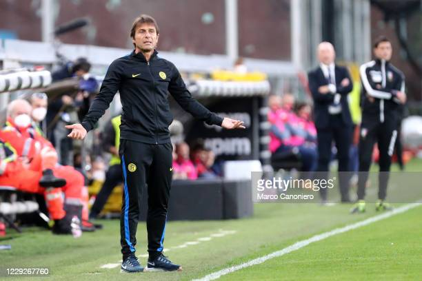 Antonio Conte head coach of FC Internazionale gestures during The Serie A match between Genoa Cfc and FC Internazionale Fc Internazionale wins 20...